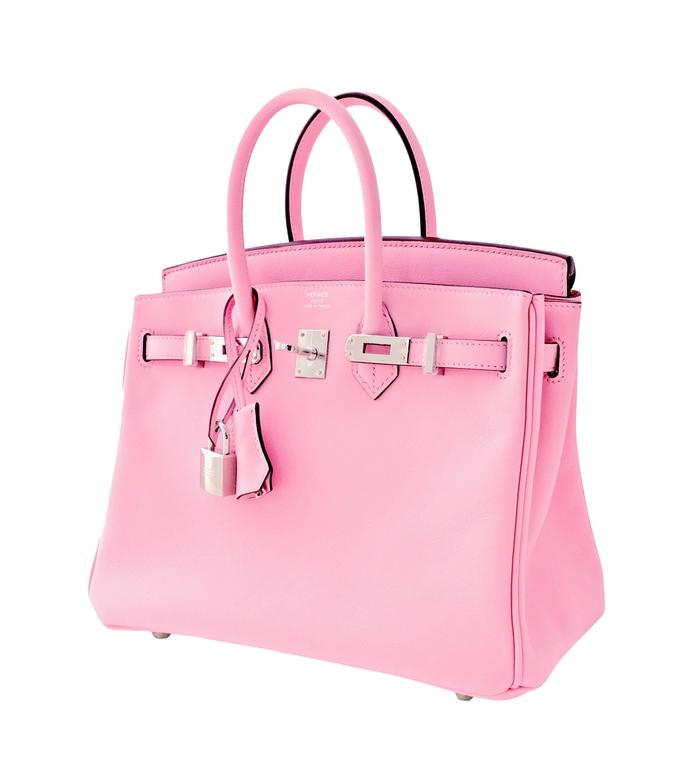 Hermes Rose Sakura Pink 25cm Swift Leather Birkin Satchel Bag Jewel 2