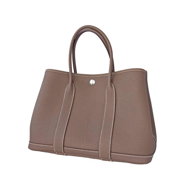 Hermes Etoupe Tpm Leather Garden Party Tres Pee Modele Tote Bag 30cm Rare Fresh
