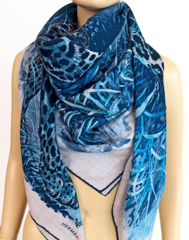 Hermes Blue Grey Panther Cashmere Silk Shawl Scarf Carre GM Amaze Spring 3