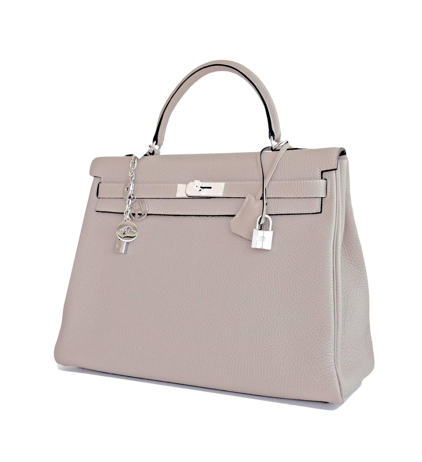 Hermes Gris Tourterelle Togo Kelly Dove Grey 35cm ...