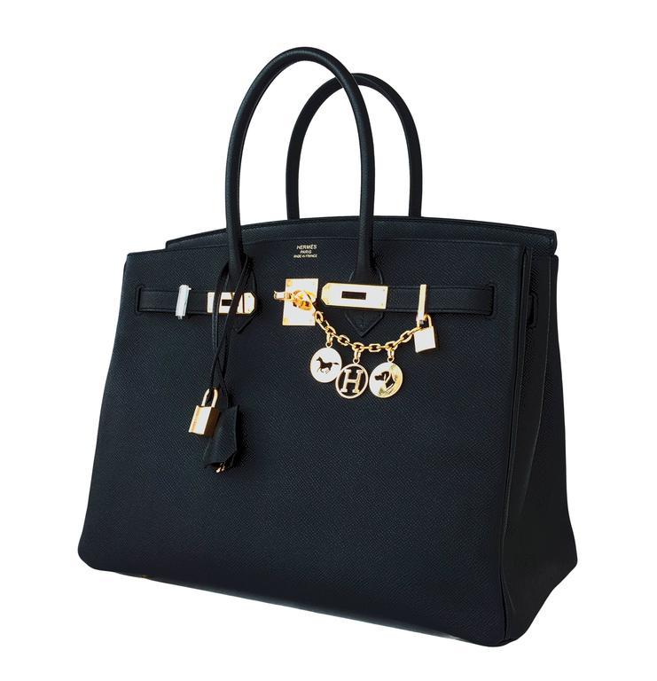 Hermes Black 35cm Birkin Gold Hardware Epsom Bag Power Birkin 4