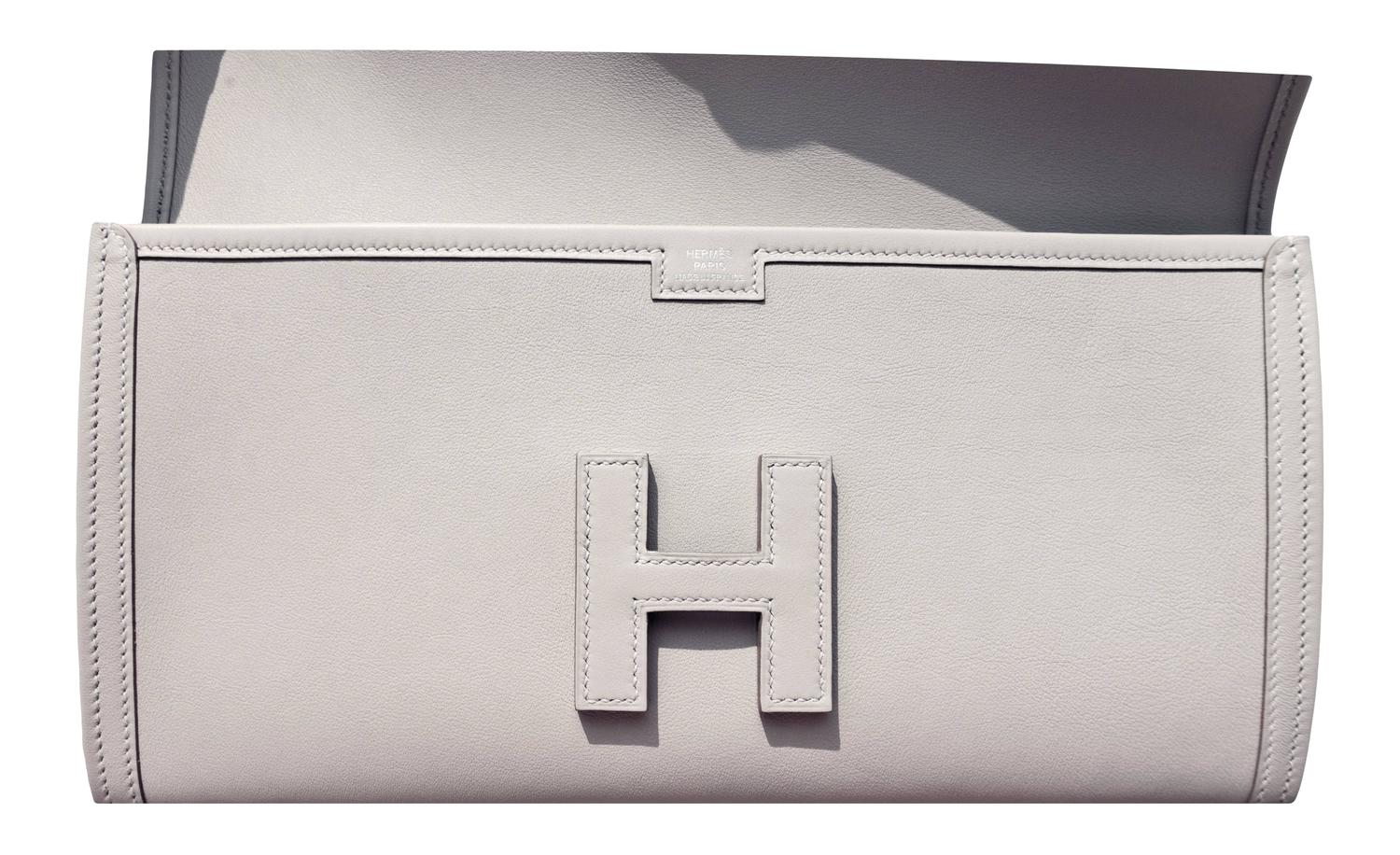 hermes gris perle leather envelope clutch