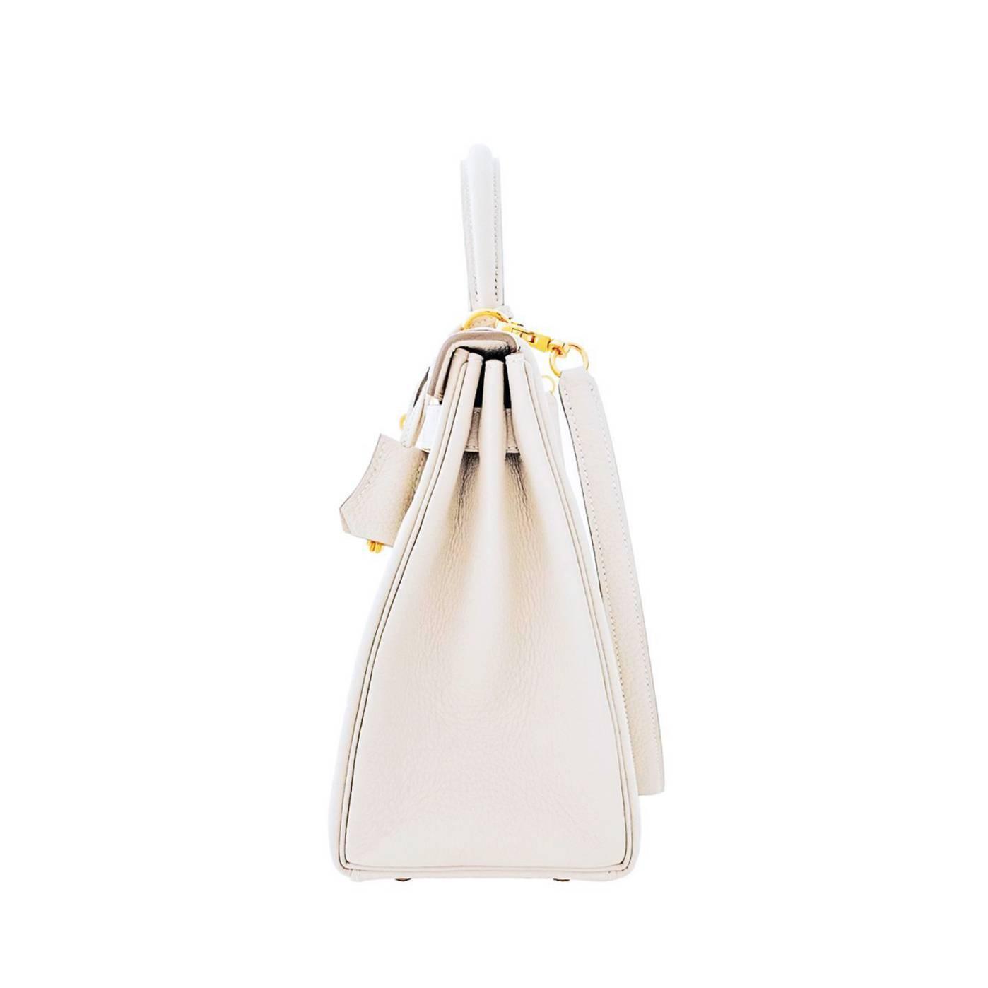 hermes inspired - Hermes Craie Chalk Togo Off White 28cm Kelly Gold GHW Shoulder Bag ...