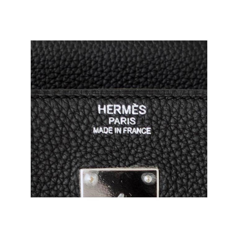 Hermes Black 40 Togo Palladium Hardware A Stamp Birkin Bag For Sale 3