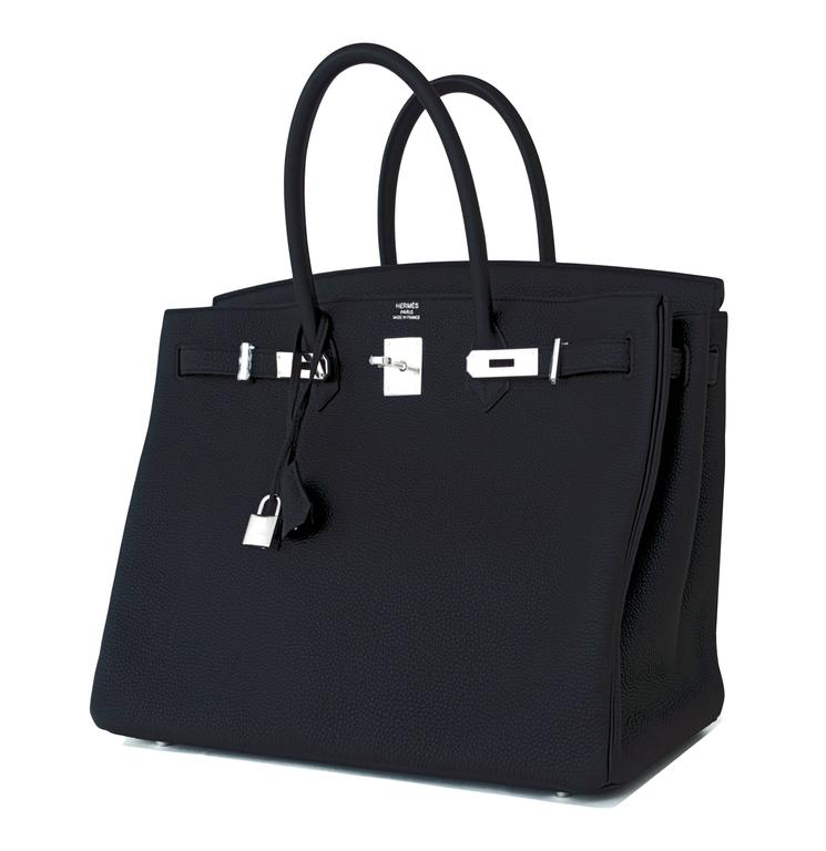 Women's or Men's Hermes Black 40 Togo Palladium Hardware A Stamp Birkin Bag For Sale