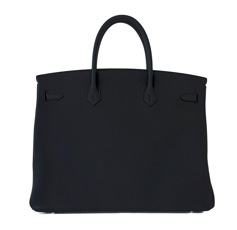 Hermes Black 40 Togo Palladium Hardware A Stamp Birkin Bag For Sale 1