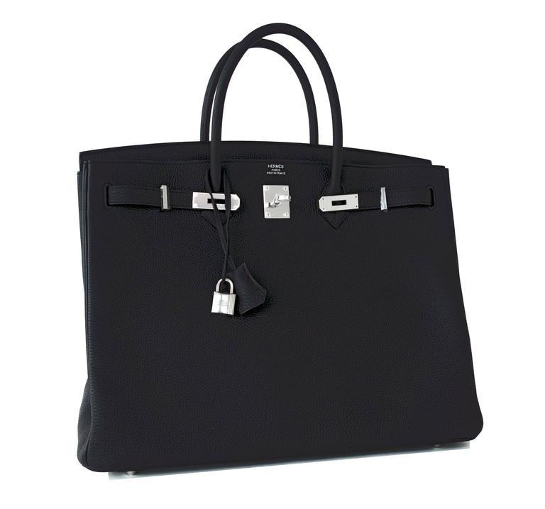 Hermes Black Togo 40cm Palladium Hardware PHW Modern Sleek Power Birkin Very rare A Stamp production Black Birkin 40cm! Brand New in Box.  Store Fresh.  Pristine Condition (with plastic on hardware).   Perfect gift! Comes with lock, keys, clochette,