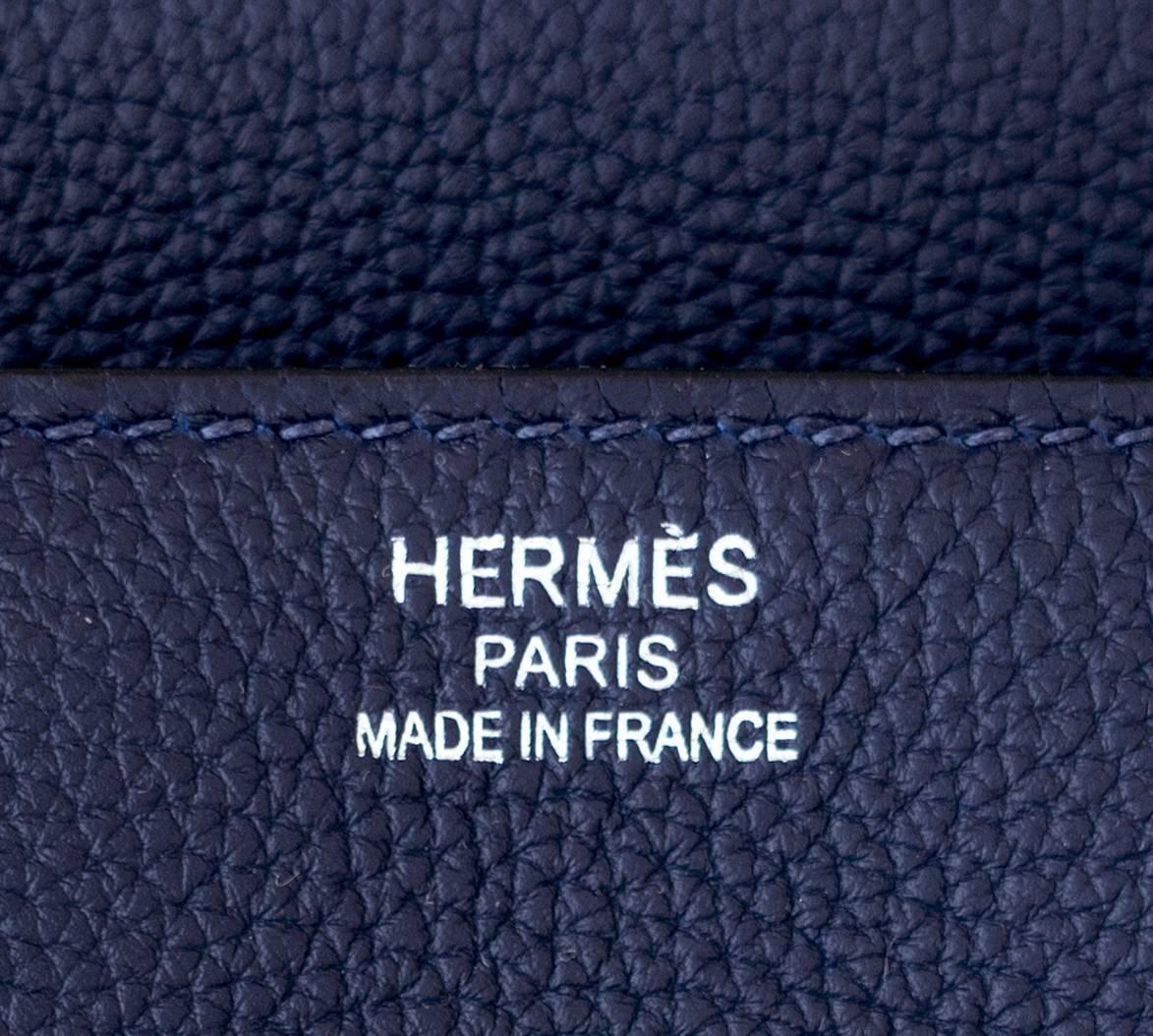 1b4a6f9ec1 Hermes Navy Blue Nuit Togo 35cm Birkin Palladium Hardware Jewel-Toned Navy  at 1stdibs