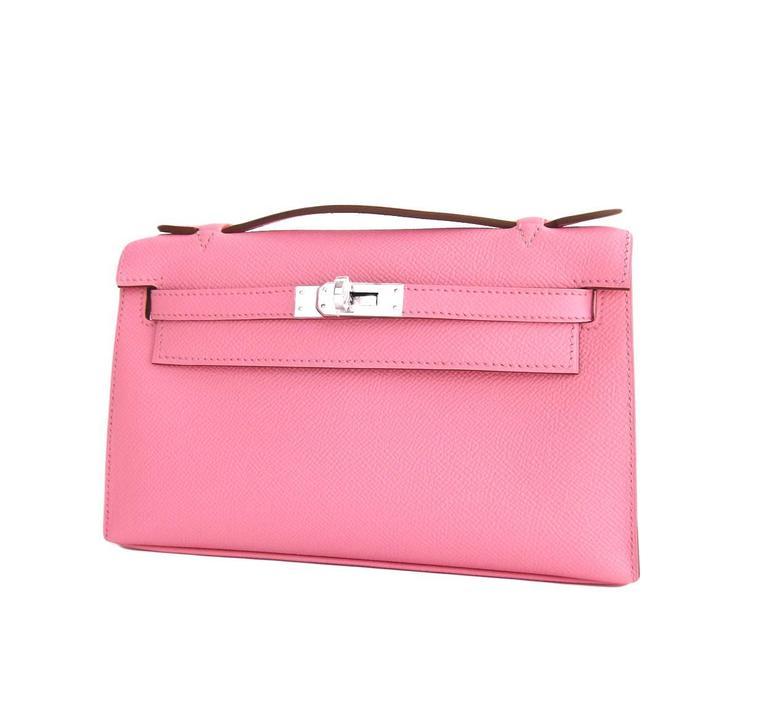 hermes rose confetti pink epsom kelly pochette clutch bag love for sale at 1stdibs. Black Bedroom Furniture Sets. Home Design Ideas