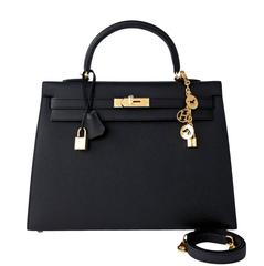 Hermes Black Epsom Sellier Kelly 35cm Gold Hardware X Stamp Superb