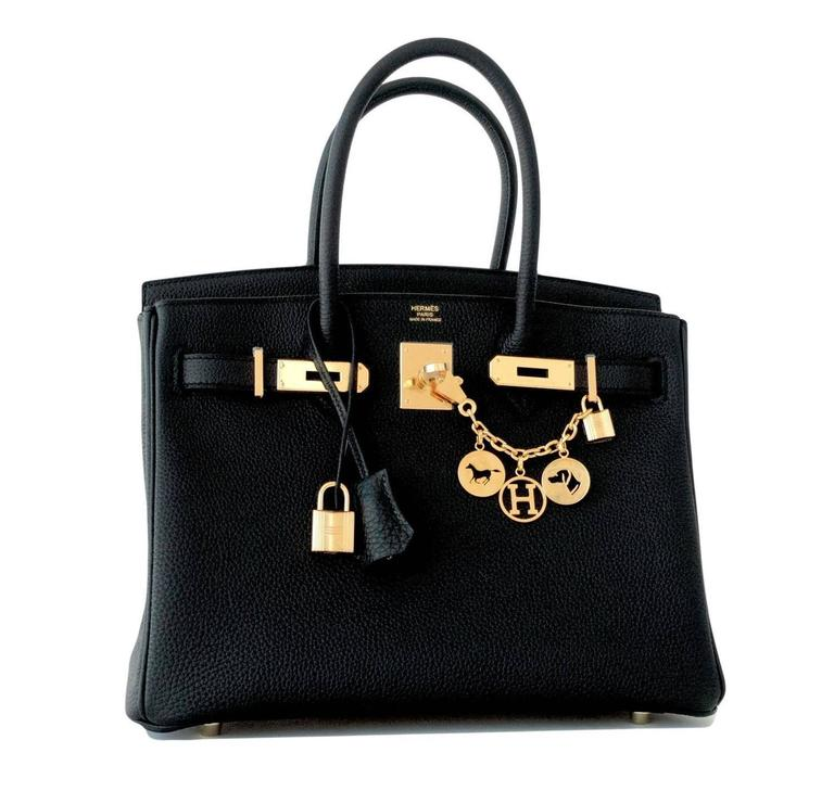 Hermes 30cm Black Birkin Togo Gold Hardware GHW Bag  Brand New in Box. Store Fresh. Pristine condition (with plastic on hardware) Perfect gift!  Comes full set with keys, lock, clochette, a sleeper for the bag, rain protector, and signature orange