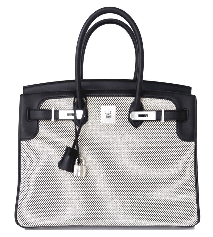 Hermes Black Swift Leather 35cm Birkin Ecru Graphite Criss Cross Toile VIP In New never worn Condition For Sale In New York, NY