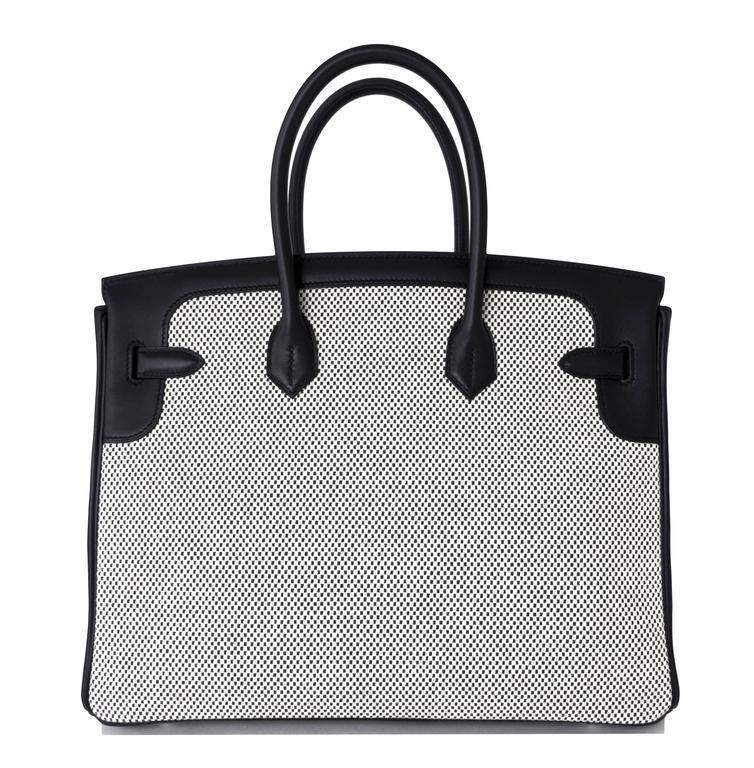Hermes Black Swift Leather 35cm Birkin Ecru Graphite Criss Cross Toile VIP 5