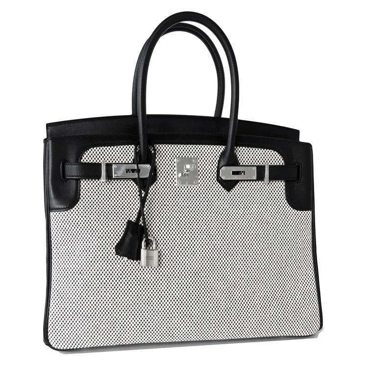 Hermes Black Swift Leather 35cm Birkin Ecru Graphite Criss Cross Toile VIP 4