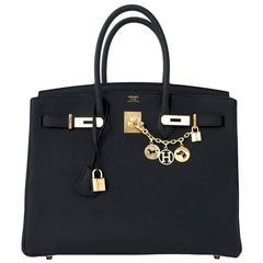 Gift!  New Hermes Black Togo 35cm Birkin Gold Hardware Celeb Fave