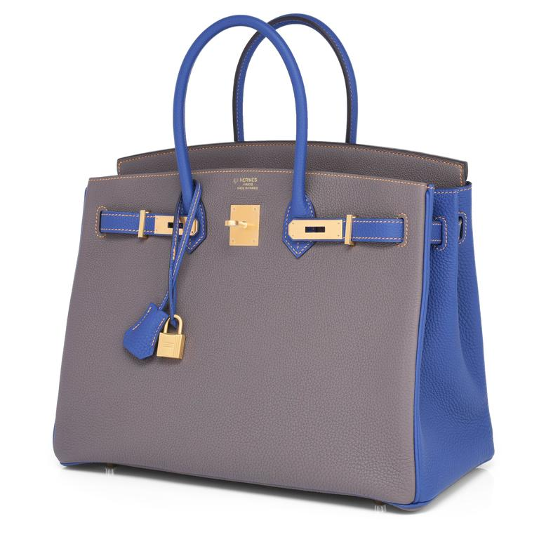 HSS Hermes Etain Blue Electric 35cm Togo Birkin Special Order Horseshoe Stamp Exclusive  Brand New in Box. Pristine Condition (with plastic on hardware)  Perfect gift! Comes in full set with clochette, lock, keys, raincoat, dust bag, Hermes box and