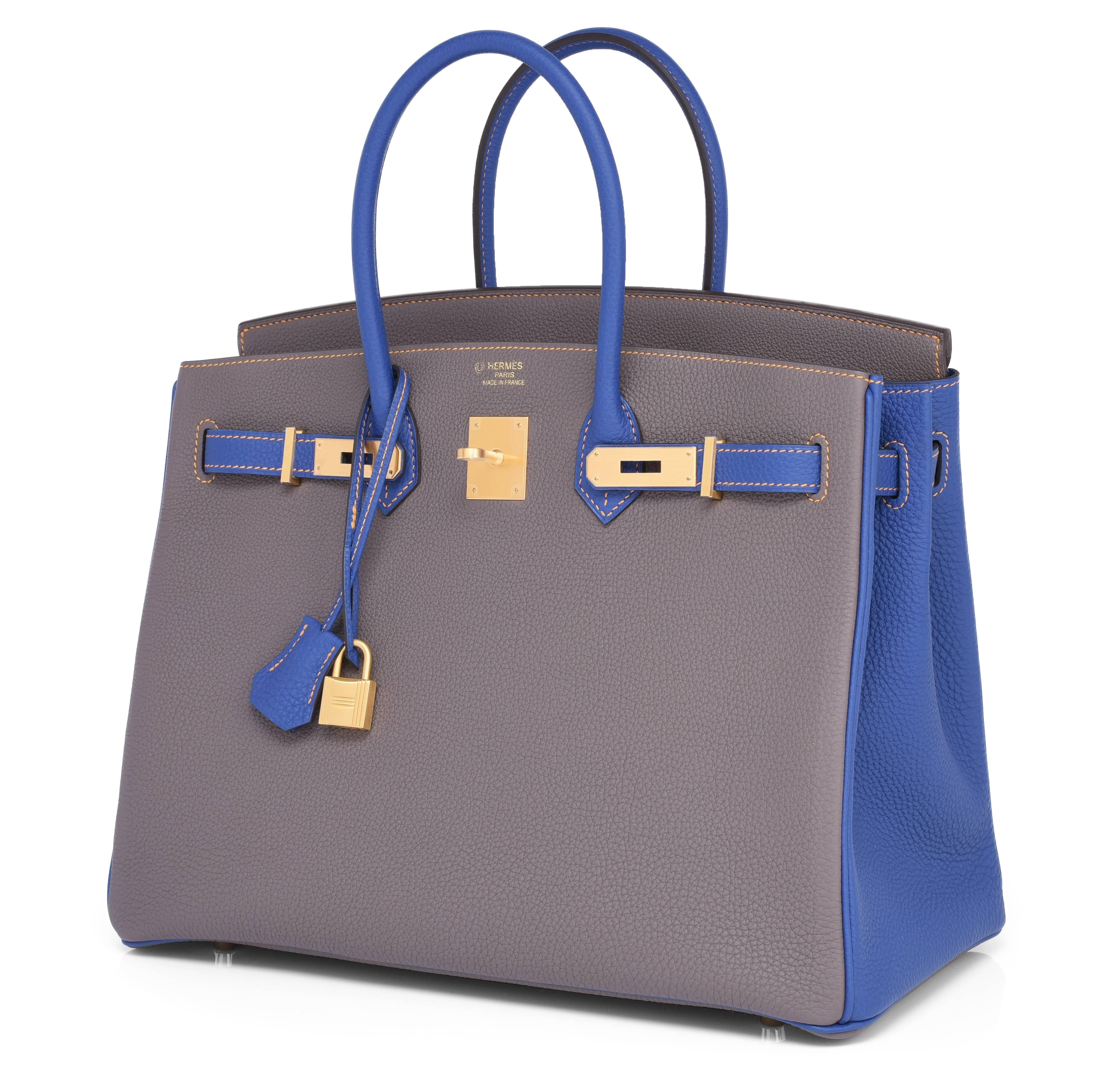 e39207d7c948 Hermes Etain Blue Electric 35cm Togo Gold Special Order Horseshoe VIP  Birkin Bag at 1stdibs