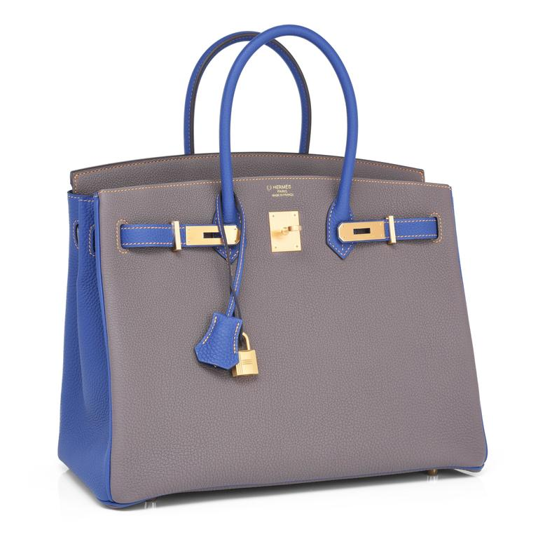 Hermes Etain Blue Electric 35cm Togo Gold Special Order Horseshoe VIP Birkin Bag In New Never_worn Condition For Sale In New York, NY