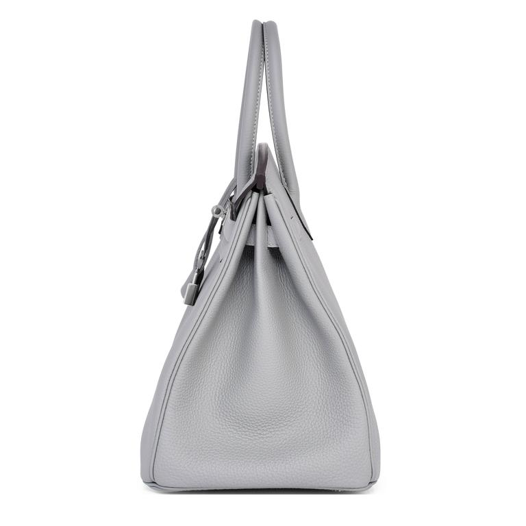 f7f935a0c9 Hermes Gris Mouette Grey 35cm Togo Birkin Blue Agate Verso Limited Edition  For Sale 2