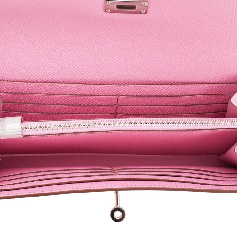 Hermes Bubblegum 5P Pink Epsom Kelly Wallet Clutch Darling 6