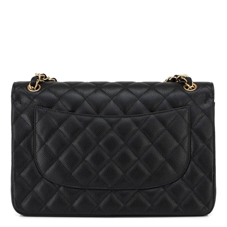 Chanel Black Quilted Caviar Jumbo Classic Double Flap Bag Gold Hardware 3