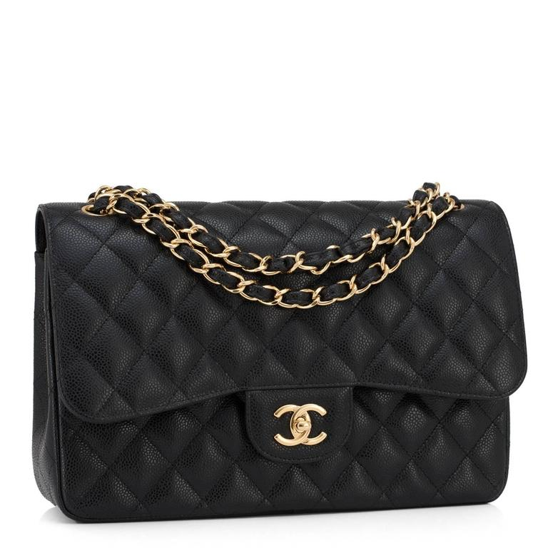 Chanel Black Quilted Caviar Jumbo Classic Double Flap Bag Gold Hardware 2