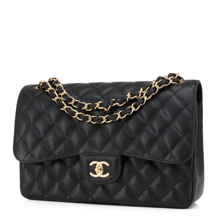 Chanel Black Quilted Caviar Jumbo Classic Double Flap Bag Gold Hardware 4