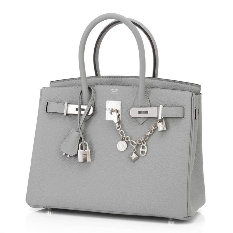 Hermes Gris Mouette New Grey 30cm Togo Birkin Bag Palladium So Chic Brand New in Bpx.  Store fresh. Pristine condition (with plastic on hardware).  Perfect gift! Comes with keys, lock, clochette, a sleeper for the bag, rain protector, and orange
