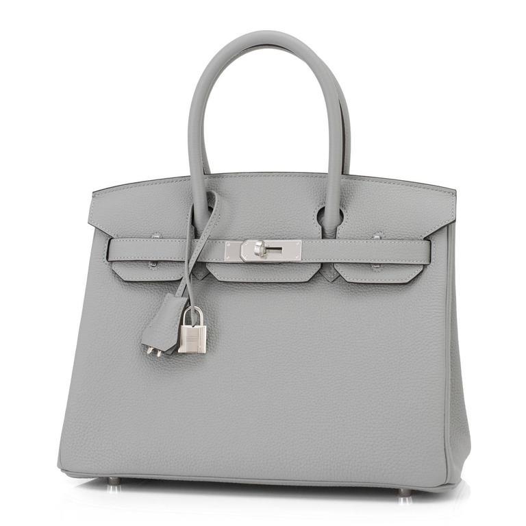 Hermes Gris Mouette New Grey 30cm Togo Birkin Bag Palladium Chic 10