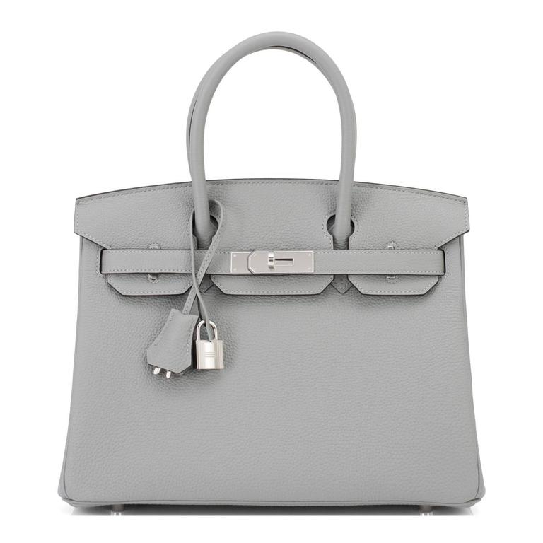 Gray Hermes Gris Mouette New Grey 30cm Togo Birkin Bag Palladium Chic For Sale