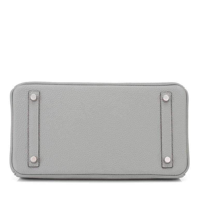 Hermes Gris Mouette New Grey 30cm Togo Birkin Bag Palladium Chic 6