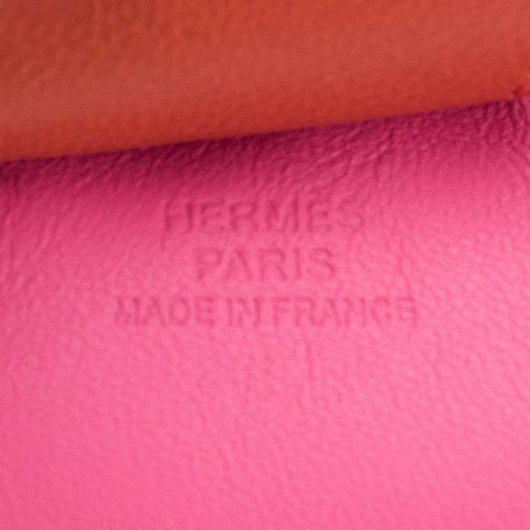 Hermes Rose Azalee Blue de Malte Cornelian Rodeo Leather Charm MM  2