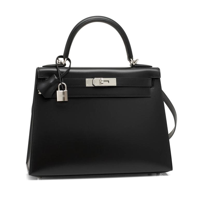 X Stamp Hermes Black Box Kelly 28cm Sellier Palladium Hardware Unicorn Brand New in Box.  Store Fresh.  Pristine Condition (with plastic on hardware) Perfect gift!  Comes full set with keys, lock, clochette, shoulder strap, a sleeper for the bag,