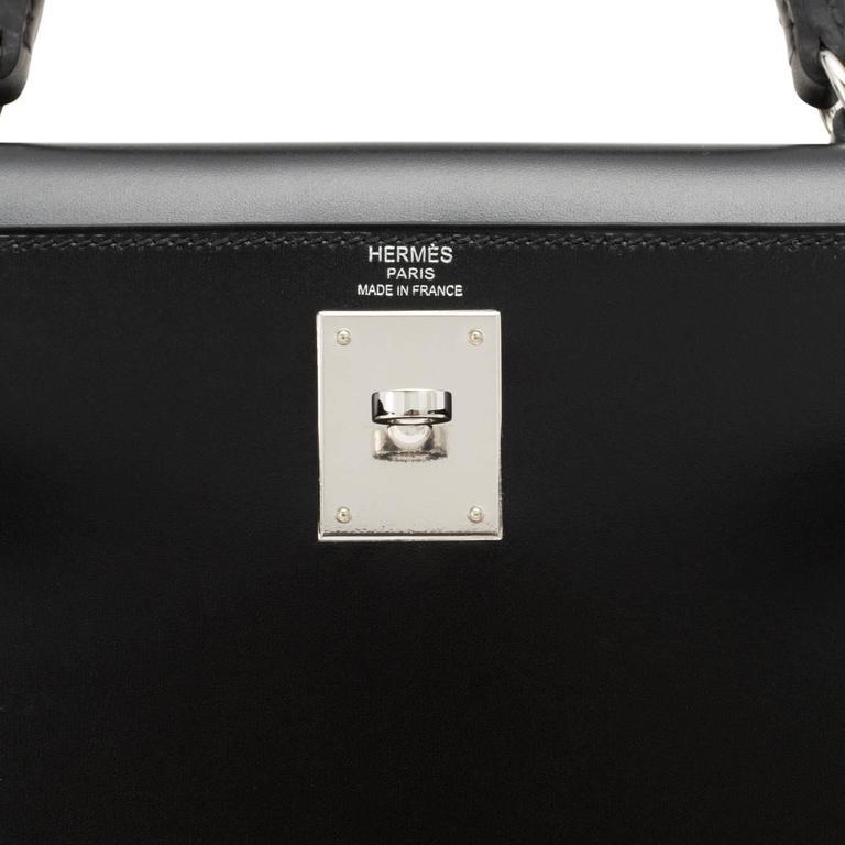 Hermes X Stamp Unicorn Black Box Kelly 28cm Sellier Palladium Hardware For Sale 5
