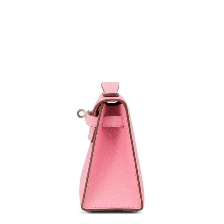 Hermes Rose Confetti Epsom Pink Pochette Cut Clutch Kelly Bag   For Sale 1