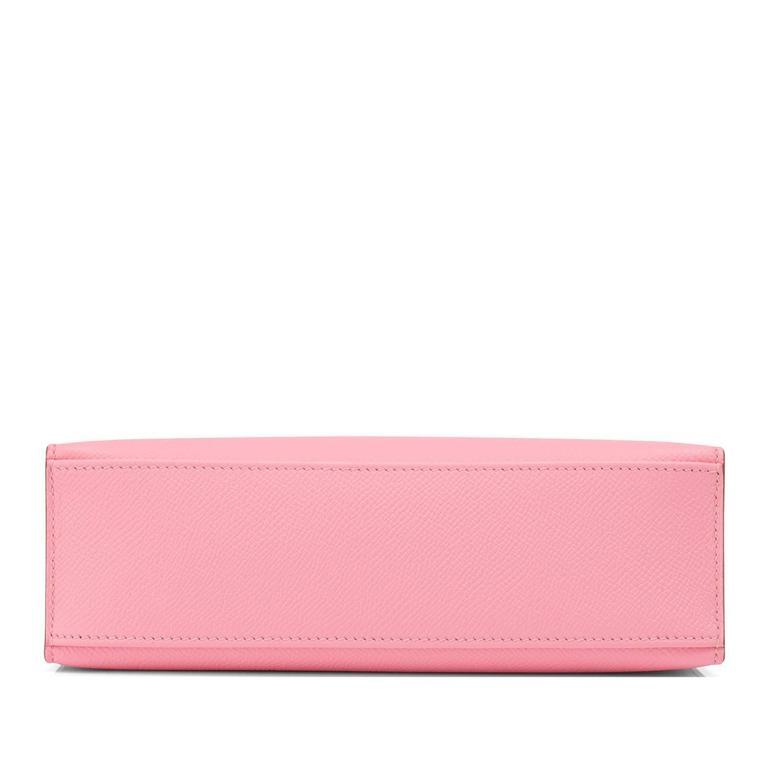 Women's Hermes Rose Confetti Epsom Pink Pochette Cut Clutch Kelly Bag   For Sale
