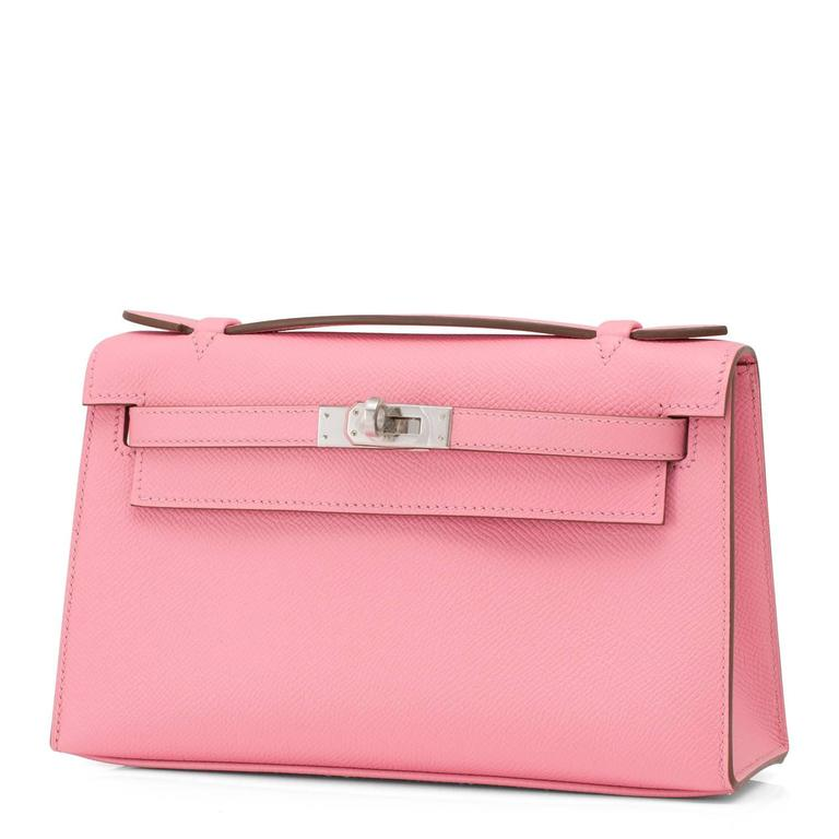 Hermes Rose Confetti Epsom Pink Pochette Cut Clutch Kelly Bag   In New Condition For Sale In New York, NY