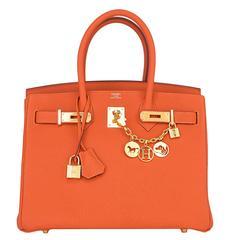 Hermes Feu Orange 30cm Togo Birkin Bag Gold Hardware Spring!