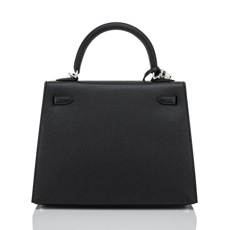 Hermes Jet Black 25cm Epsom Sellier Palladium Jewel Kelly Bag In New Condition For Sale In New York, NY