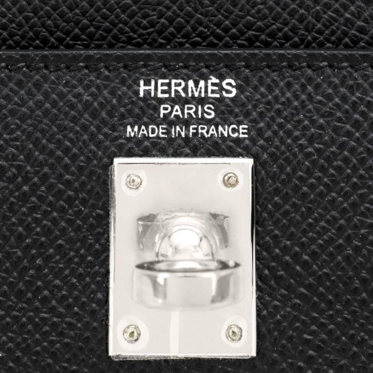 Hermes Jet Black 25cm Epsom Sellier Palladium Jewel Kelly Bag For Sale 4