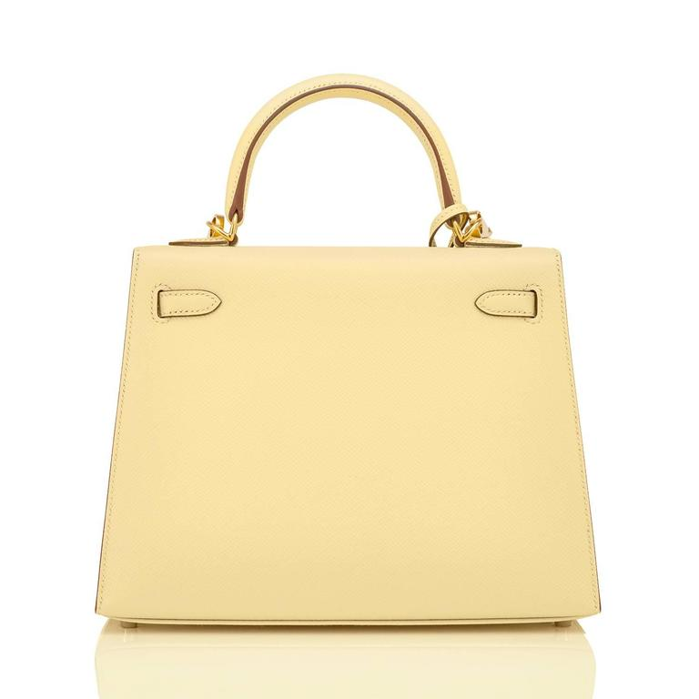 Women's Hermes 25cm Jaune Poussin Sellier Epsom Kelly Gold Jewel