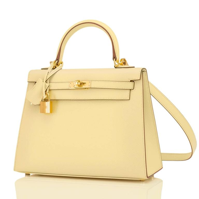 Hermes 25cm Jaune Poussin Sellier Epsom Kelly Gold Jewel 1