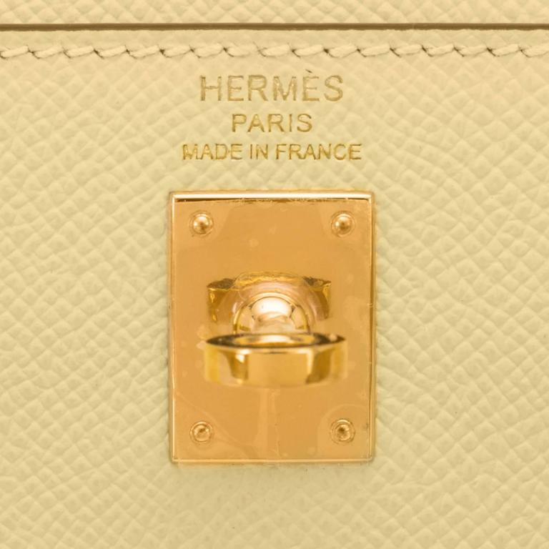 Hermes 25cm Jaune Poussin Sellier Epsom Kelly Gold Jewel 6
