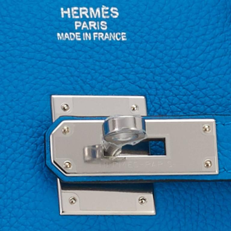 "Hermes Blue Zanzibar TOGO ""Verso"" Malachite 35cm Birkin Palladium Limited For Sale 6"