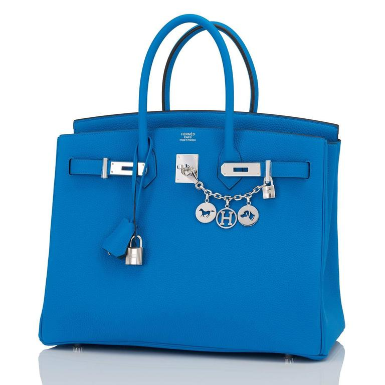 "Hermes Blue Zanzibar TOGO ""Verso"" Malachite 35cm Birkin Palladium Limited In New Never_worn Condition For Sale In New York, NY"