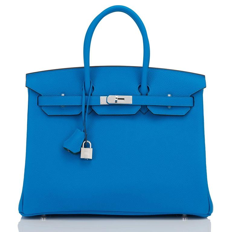 "Women's or Men's Hermes Blue Zanzibar TOGO ""Verso"" Malachite 35cm Birkin Palladium Limited For Sale"
