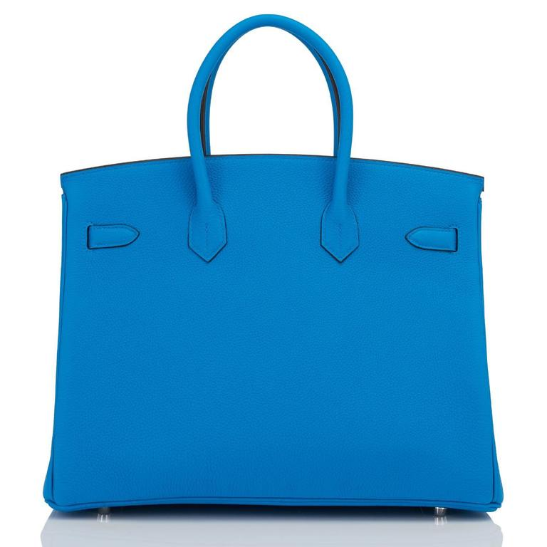 "Hermes Blue Zanzibar TOGO ""Verso"" Malachite 35cm Birkin Palladium Limited For Sale 2"