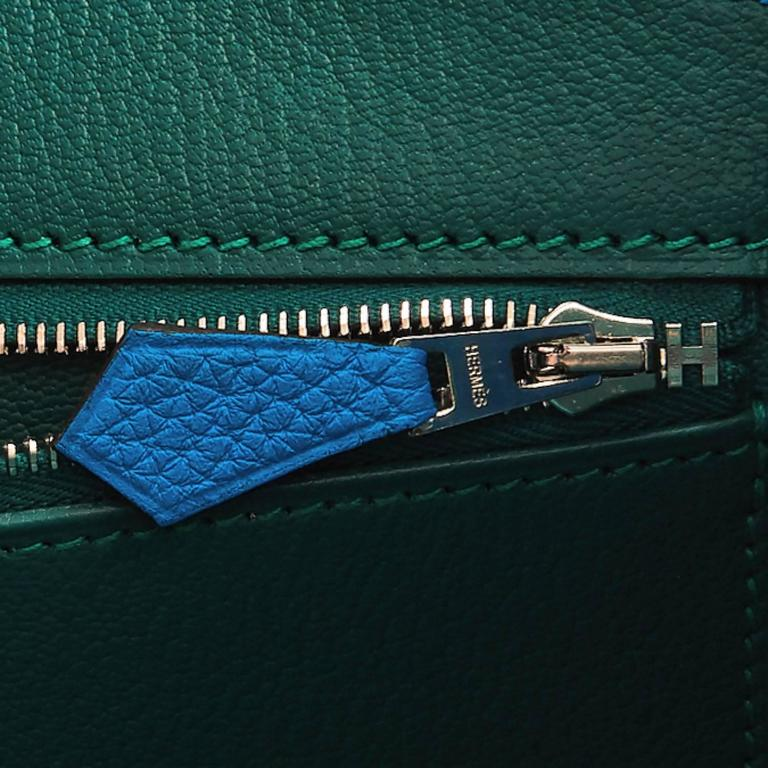 "Hermes Blue Zanzibar TOGO ""Verso"" Malachite 35cm Birkin Palladium Limited For Sale 5"
