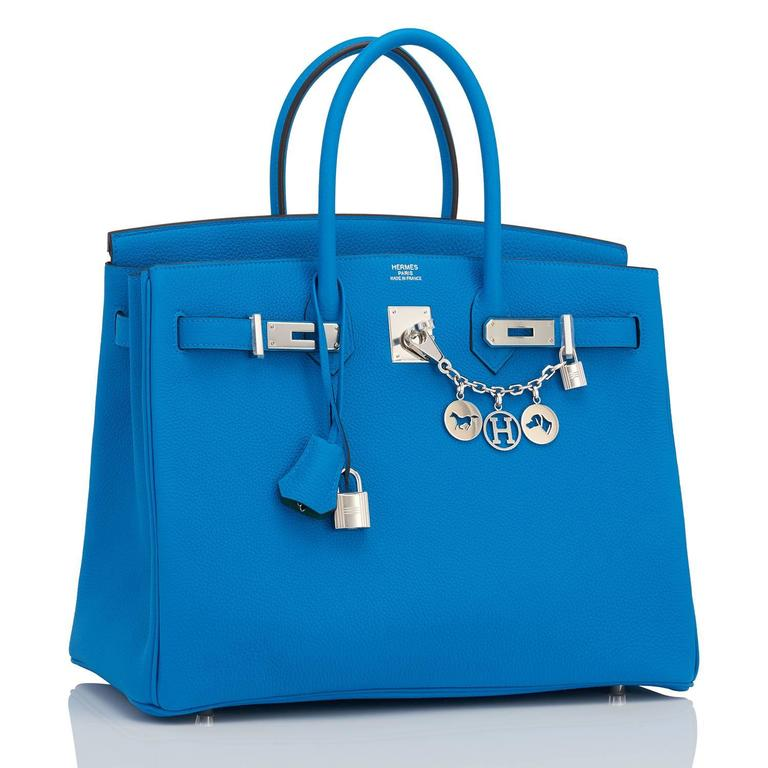 "Hermes Blue Zanzibar TOGO ""Verso"" Malachite 35cm Birkin Palladium Limited For Sale 1"