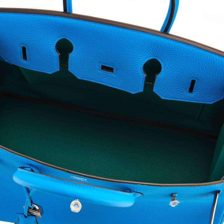 Hermes Blue Zanzibar Verso Malachite Togo 35cm Birkin Palladium Hardware Brand New in Box. Store Fresh.  Pristine Condition (with plastic on hardware) Perfect gift! Comes in full set with clochette, lock, keys, raincoat, dust bag, Hermes box and